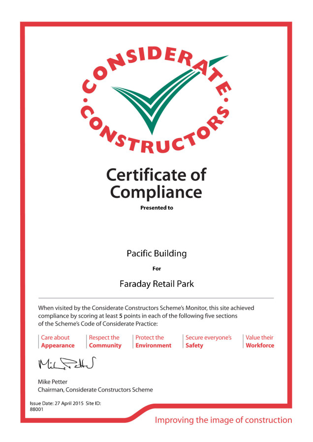 Considerate Constructors Award Pacific Building