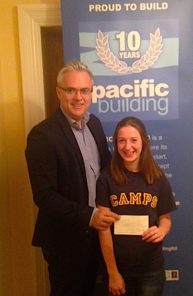 Pacific Building Commercial Director Christopher McGuire with Emma Boyle, of Balfron High School