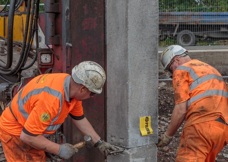 concrete piling at McDonald's, Dalmarnock Road,