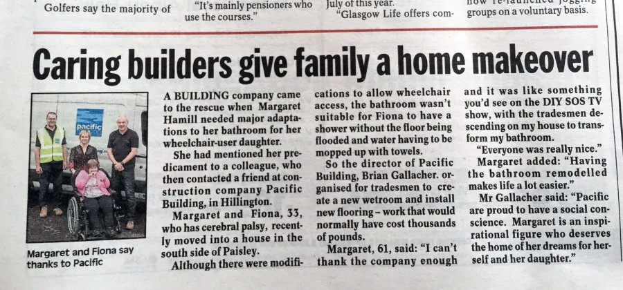 Evening Times coverage of Pacific Building DIY SOS rescue for Margaret Hammill