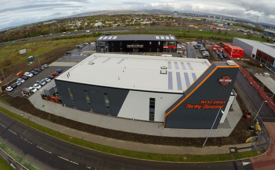 Aerial still photo of Ducati, Triumph, Harley-Davidson at Hillington Glasgow Pacific Building