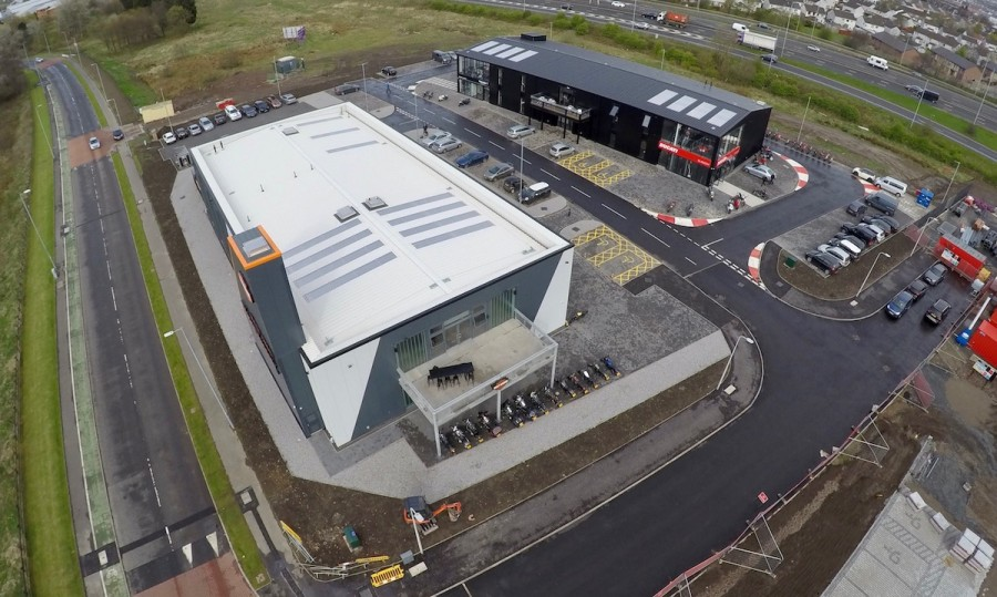 Aerial still photo of Ducati, Triumph, Harley-Davidson at Hillington Glasgow Pacific Building
