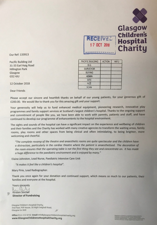 Thanks you letter to Pacific Building from Glasgow Children's Hospital Charity