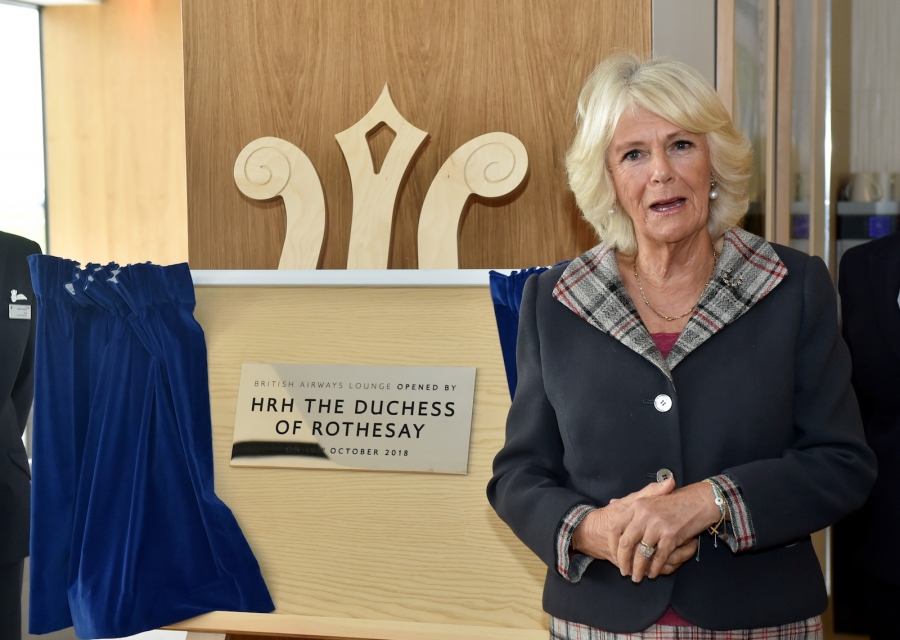 Camilla opens Pacific Building BA lounge Aberdeen Airport