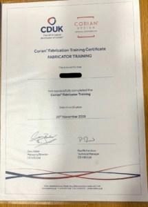 Corian Fabricator certificate Pacific Building