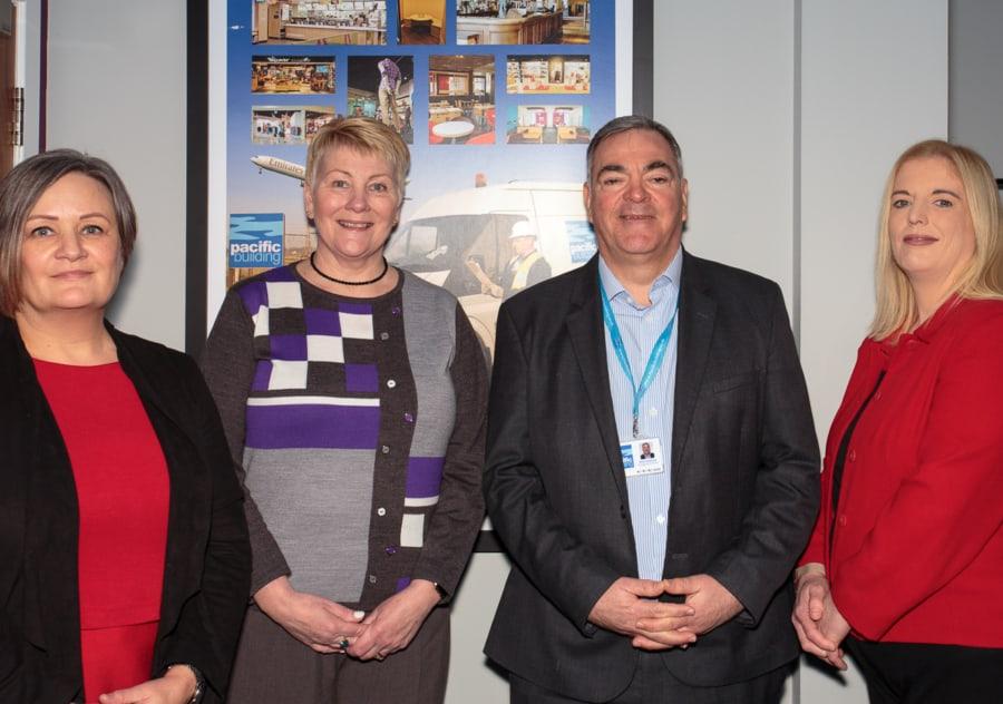 Caroline Gumble, CIOB, and Brian Gallacher, Pacific Building, with Kate Macbeth and Lynne McKay, also CIOB
